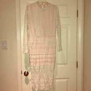 Gorgeous detail long sleeve white dress NWOT